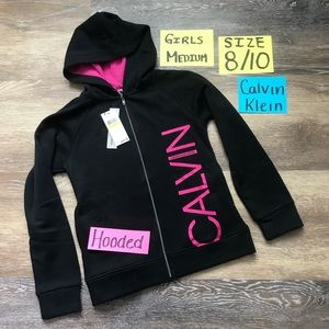 🛍NWT Calvin Klein Girls Size Med Zip Up Hoodie